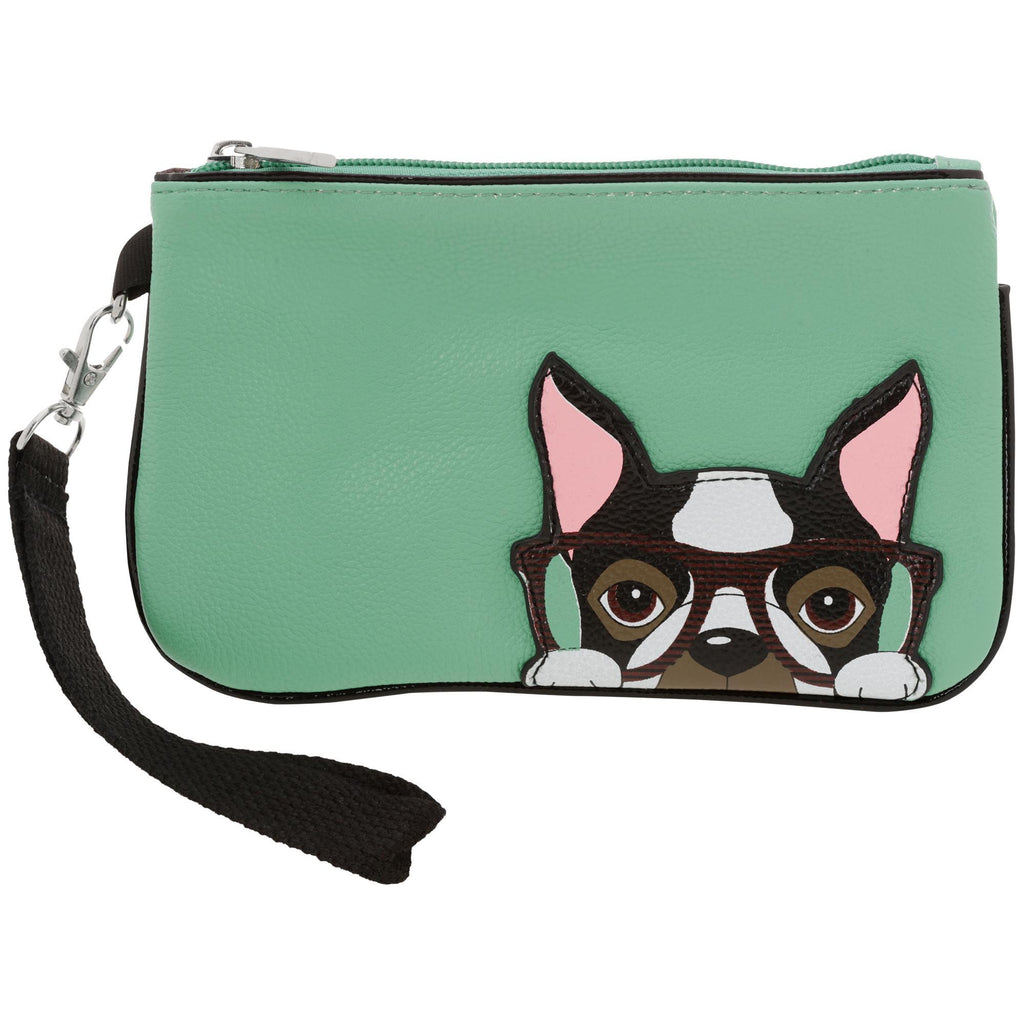 Nerdy Boston Terrier Wristlet