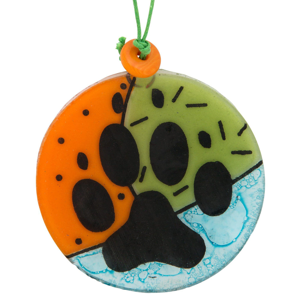 Paw Print Recycled Glass Ornament