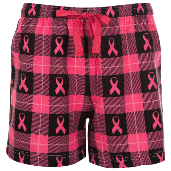 Pink Ribbon Plaid Flannel Shorts