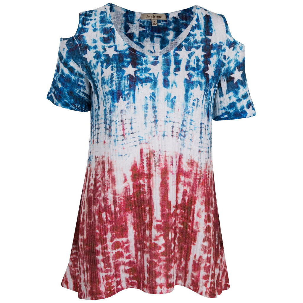 Tie Dye Americana Cold Shoulder Top