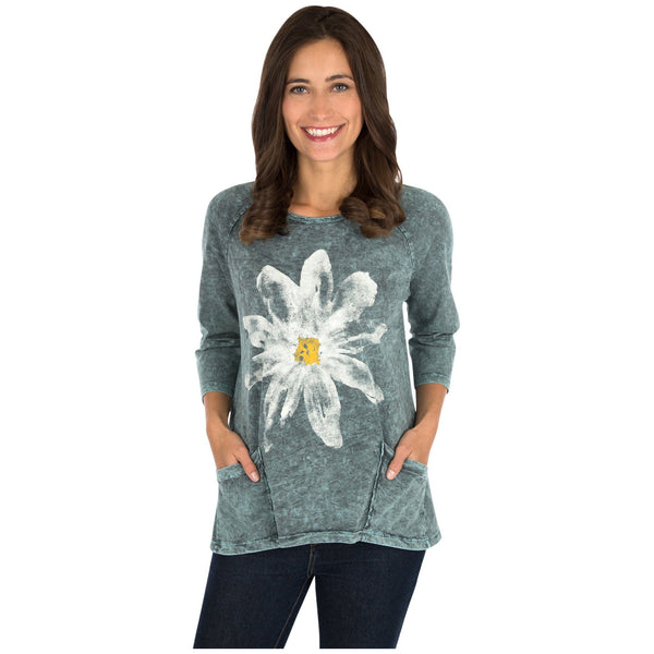 Daisy Printed Mineral Washed Tunic Top