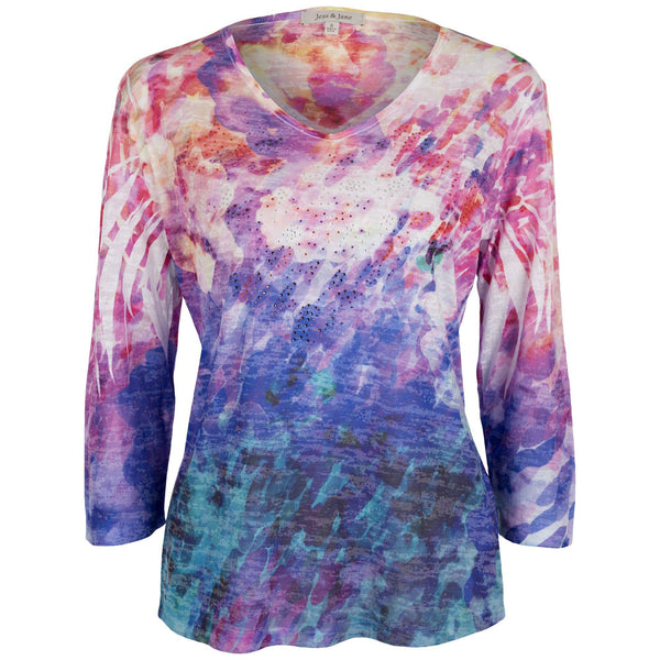 Summer Splash Burnout Sublimation Top