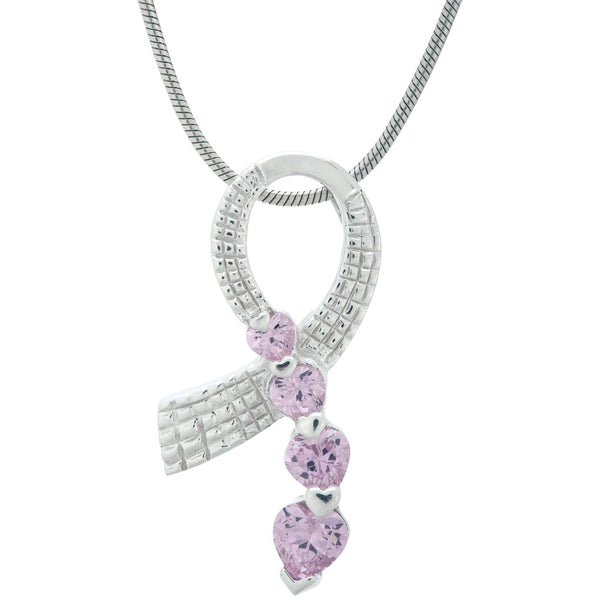 Pink Ribbon Sterling & Crystal Heart Necklace