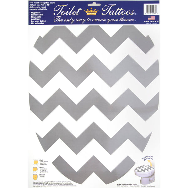 Toilet Tattoo Gray Chevron