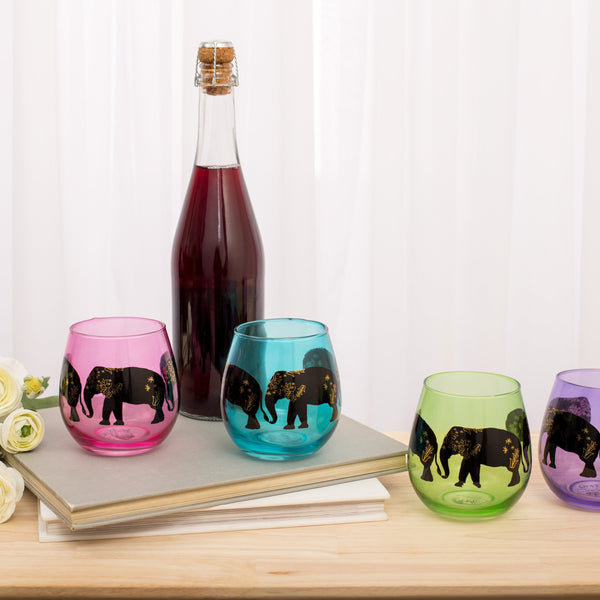 Elephants On Parade Stemless Wine Glasses - Set Of 4