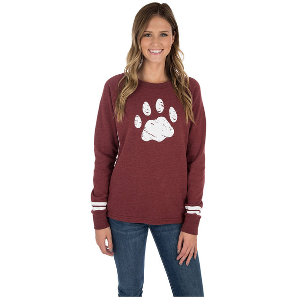 Distressed Paw Stripe Sweatshirt