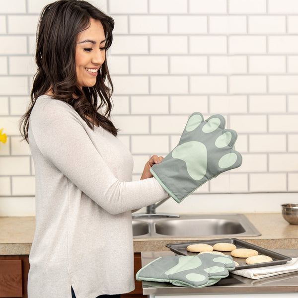 Paw Print Oven Mitts - Set Of 2