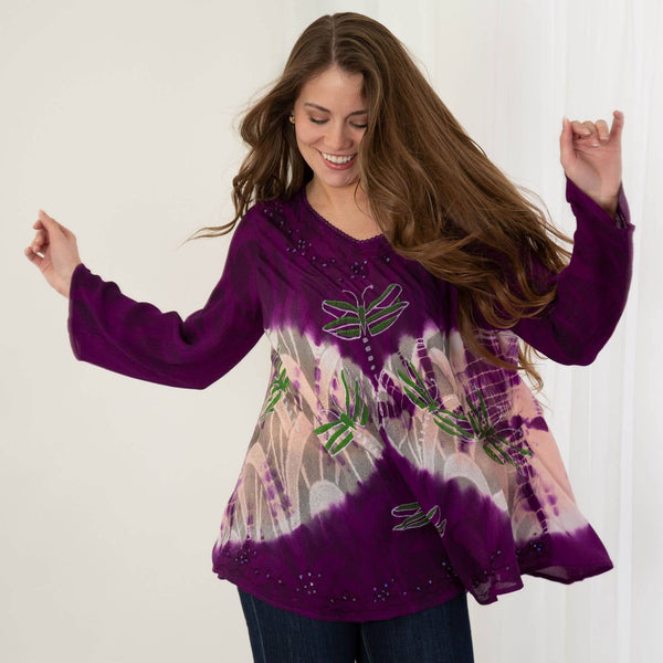Twilight Dragonfly Long Sleeve Tunic