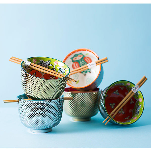 Touch Of Shine Floral Noodle Bowl & Chopsticks