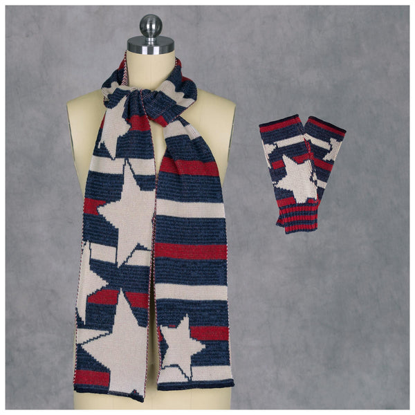 Stars & Stripes Cozy Scarf & Gloves