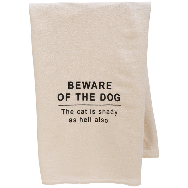 Beware Of Dog & Cat Flour Sack Dish Towel