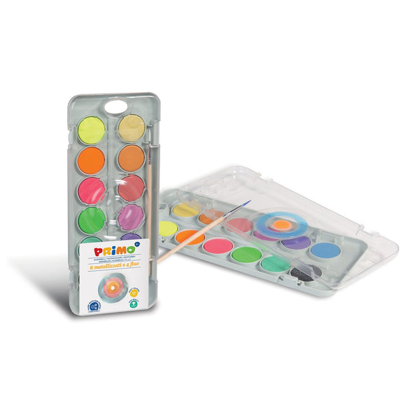 Primo® 12 Metallic & Fluorescent Watercolor Mixing Palette