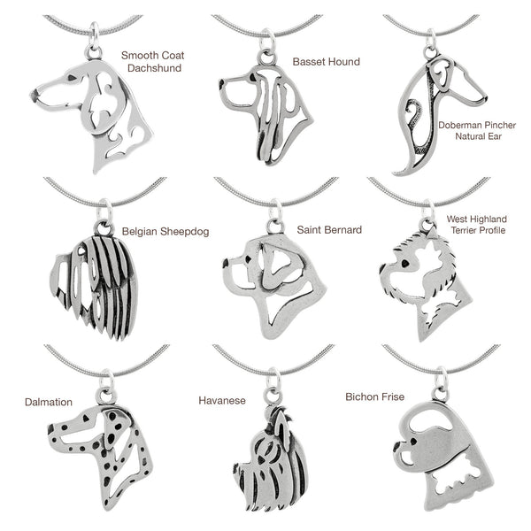 Recycled Sterling Dog Breed Profile Necklace