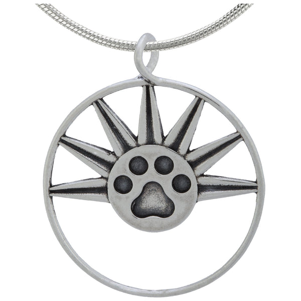 Recycled Sterling Sun Paw Necklace