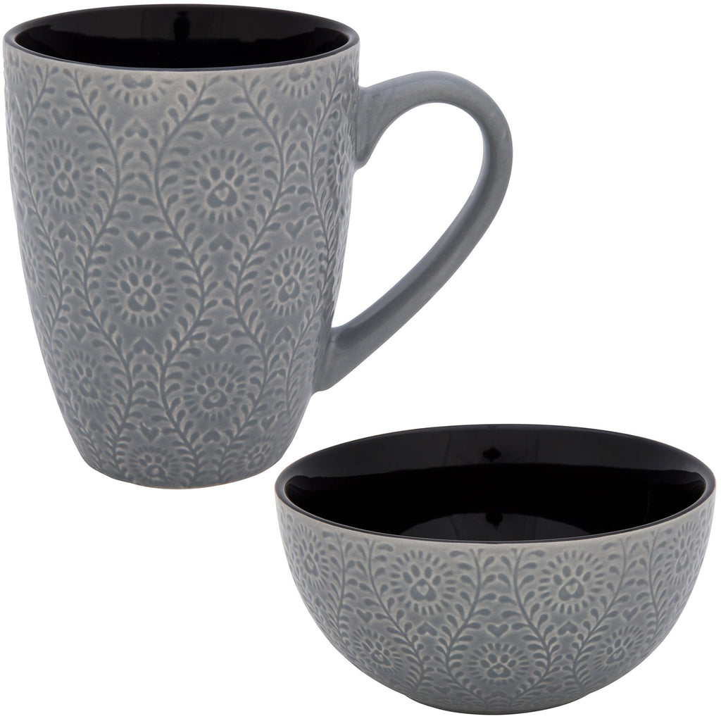 Flowering Vines Paw Print Mug & Bowl Set