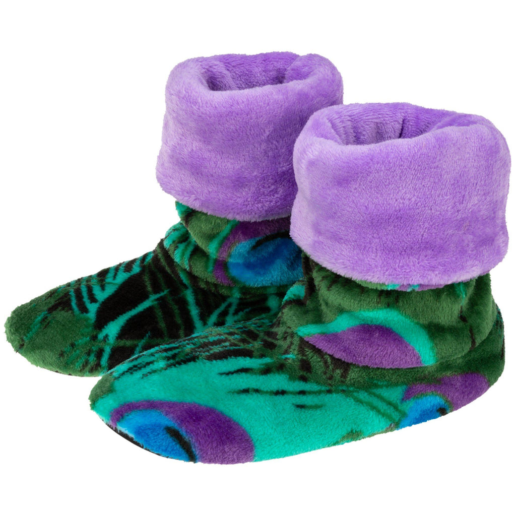 Super Cozy™ Peacock Fleece Slipper Booties