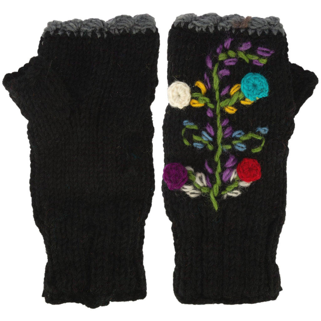 Flower Embroidery Fingerless Mittens