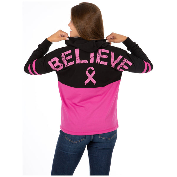 Believe Pink Ribbon Two-Toned Hooded Tee