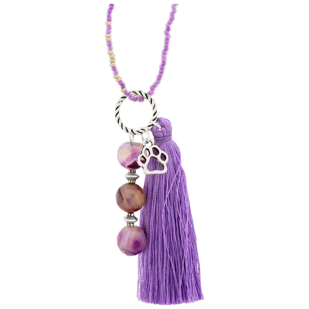 Promo - PROMO - Beaded Purple Paw Bag Charm