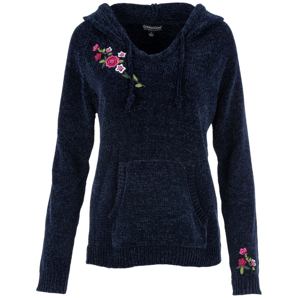 Embroidered Flower Chenille Sweater