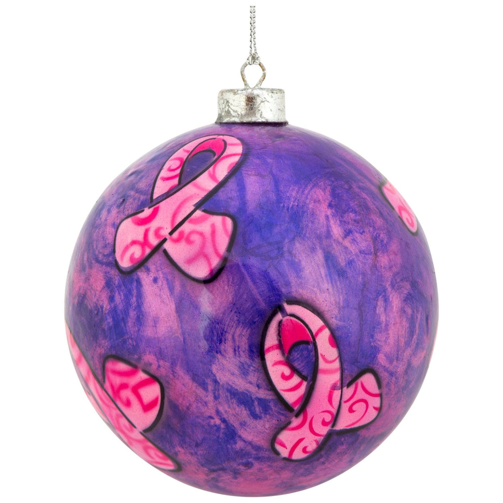Pink Ribbon Capiz Ornament