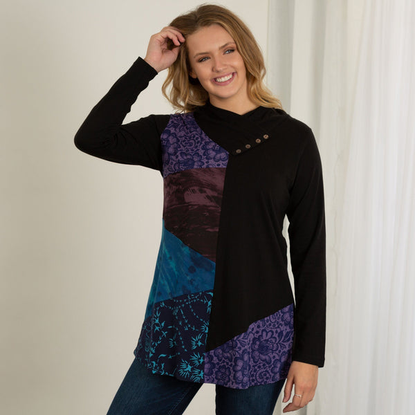 Angled Rays Cowl Neck Tunic