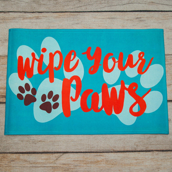 Teal Wipe Your Paws Indoor/Outdoor Mat