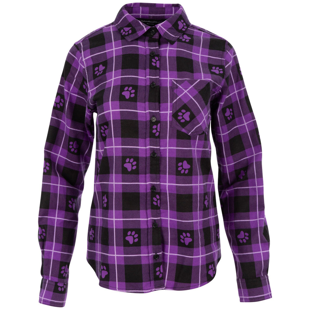 Paw Print Flannel Button Up Shirt