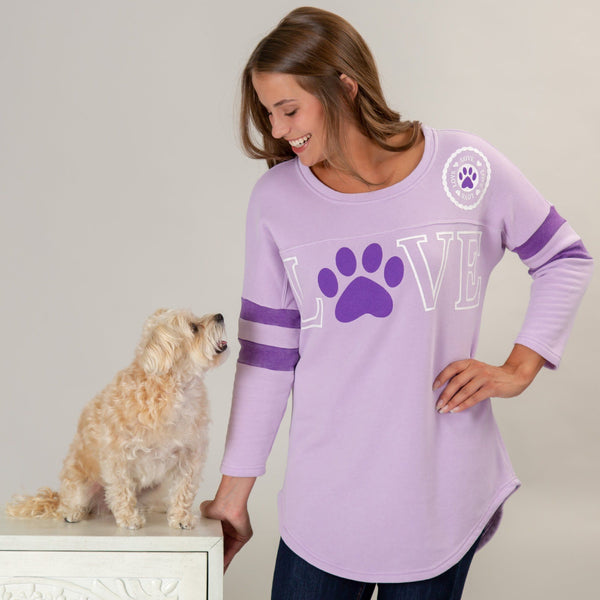 Purple Paw Varsity Striped Sweatshirt