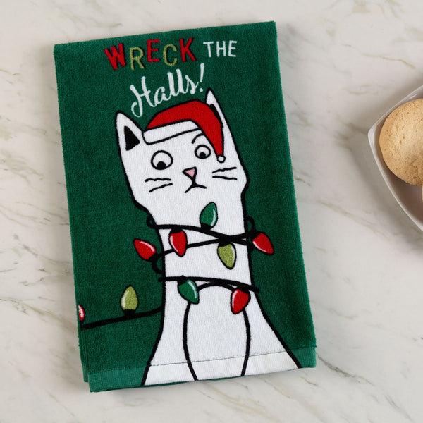 Wreck The Halls! Cat Kitchen Towel