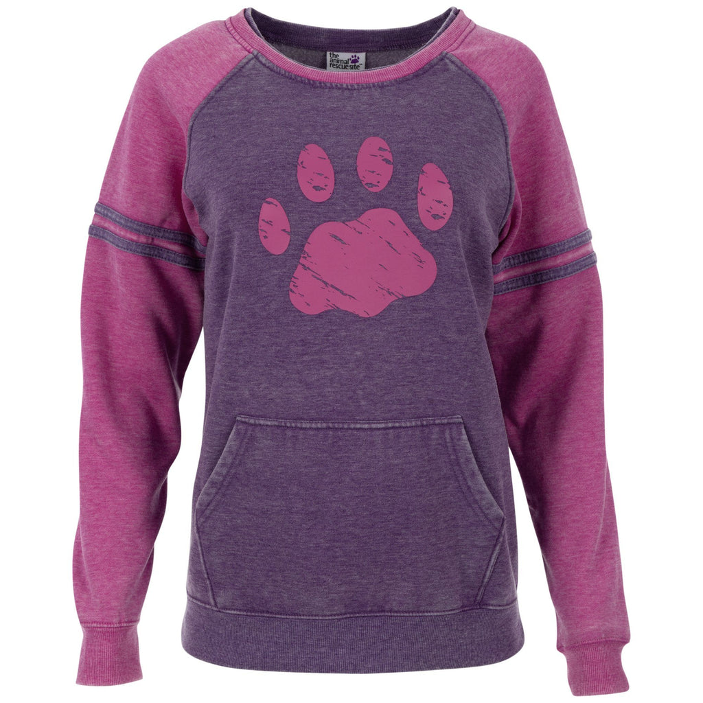 Paw Stripe Burnout Crewneck Sweatshirt