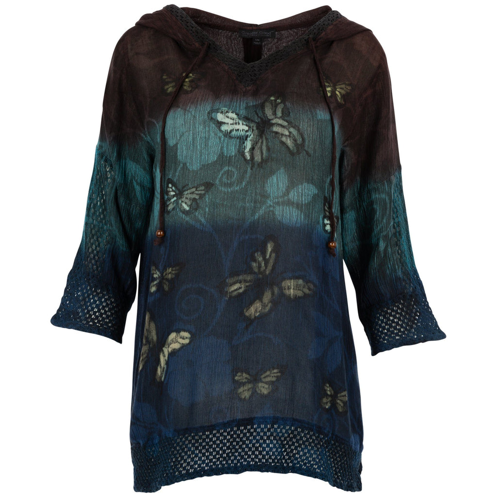 Twilight Butterflies Lightweight Hooded Tunic