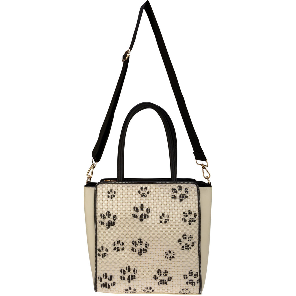 Woven Paw Print Crossbody Tote