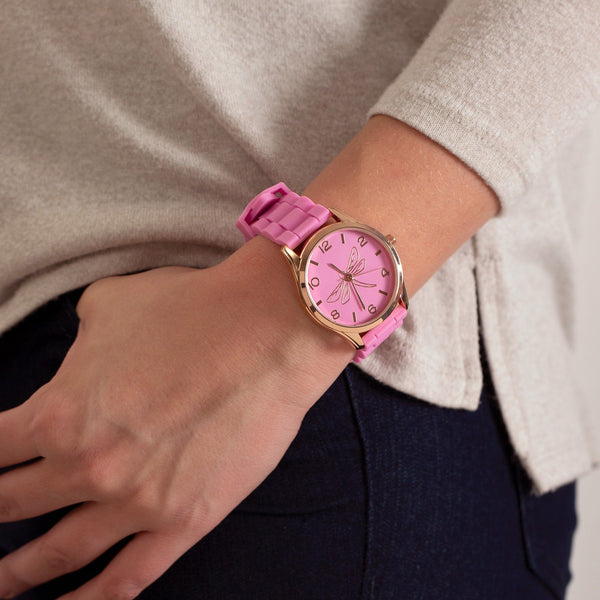 Promo - PROMO - Rose Gold Dragonfly Silicone Watch
