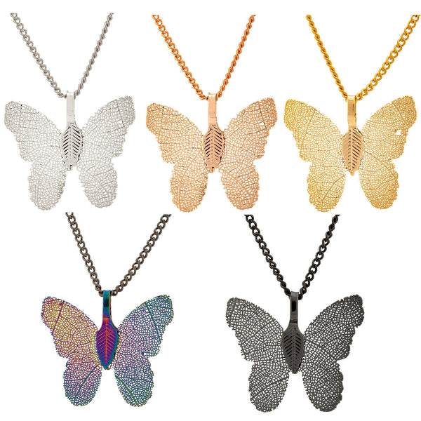 Lustrous Leaf Butterfly Necklace