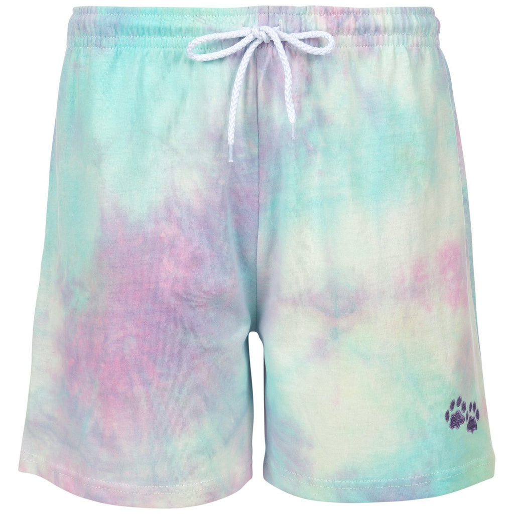 Purple Paw Tie-Dye Casual Shorts