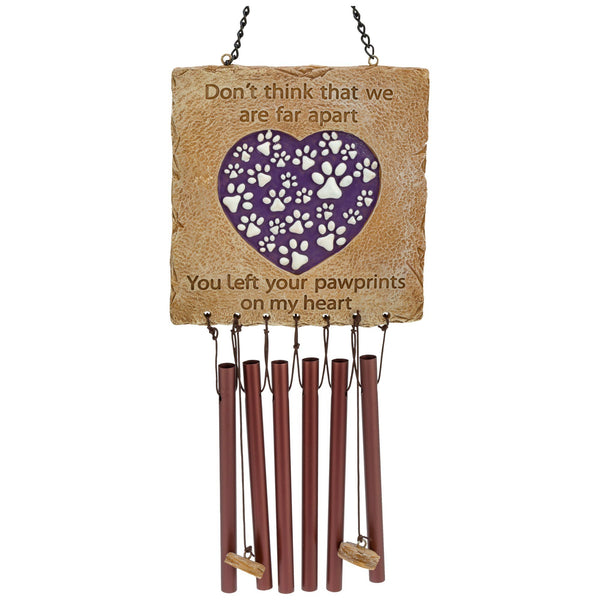 Paw Prints On My Heart Memorial Wind Chime