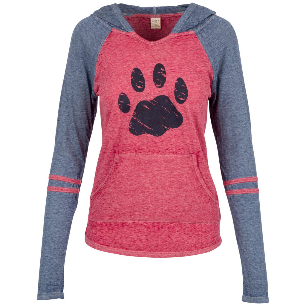 Paw Print Varsity Striped Hooded Tee