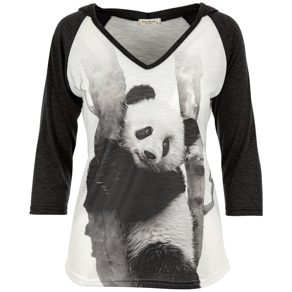 Sweet Panda Hooded 3/4 Sleeve Tee