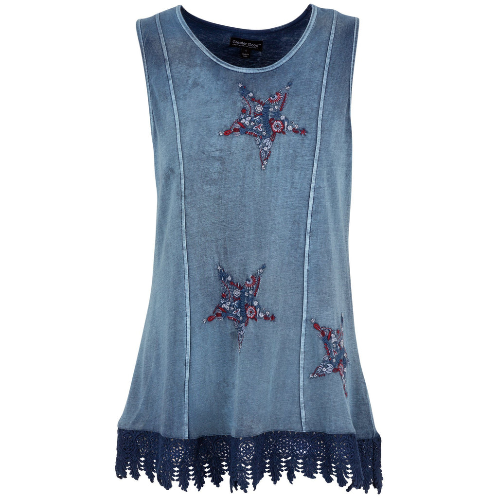 Embroidered Stars Lace Trim Tunic
