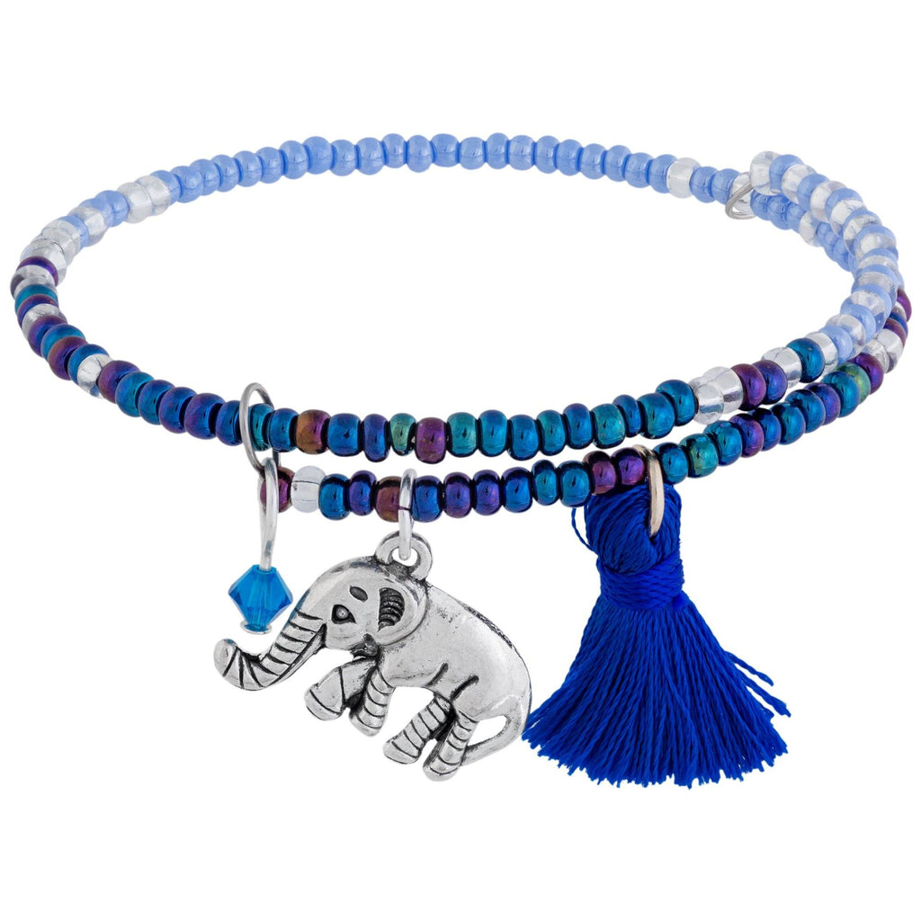 Promo - PROMO - Beaded Blue Elephant Adjustable Bracelet