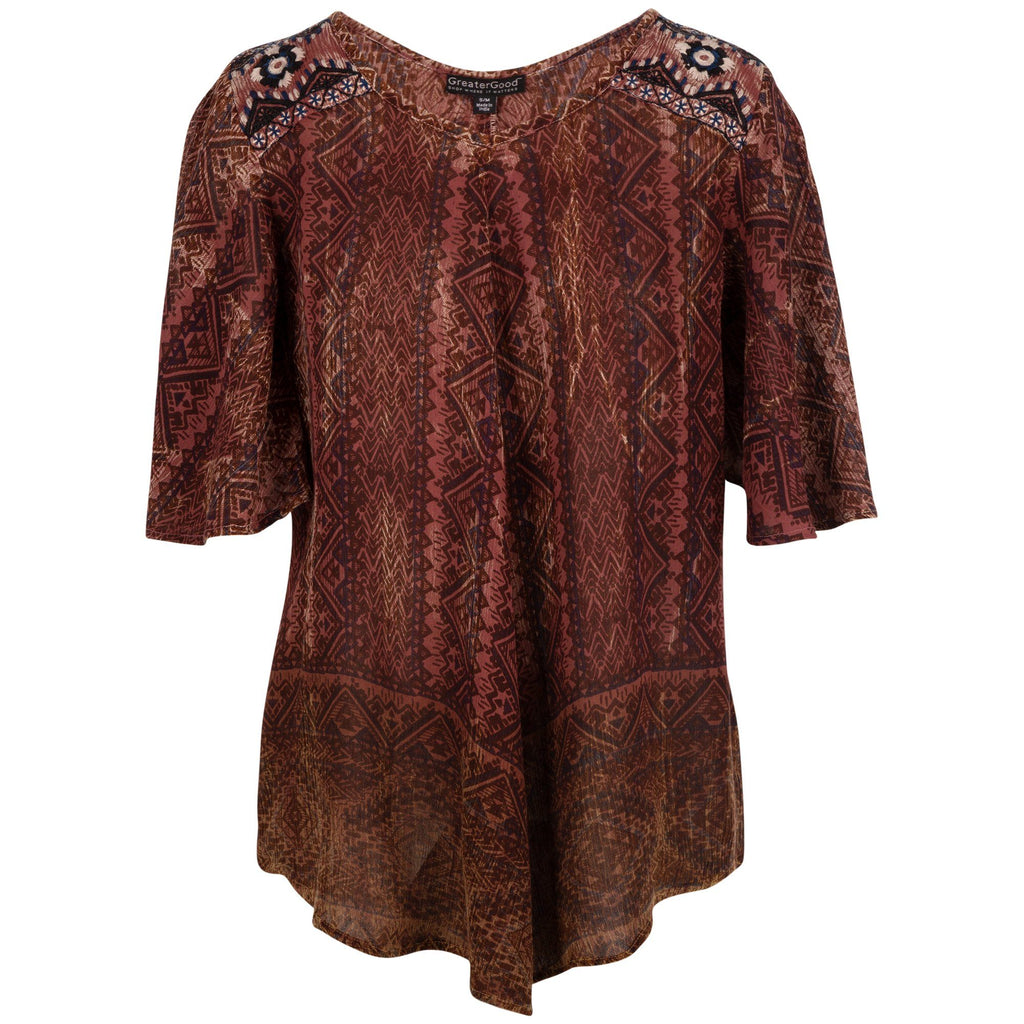 Earthy Spirit Flutter Sleeve Top