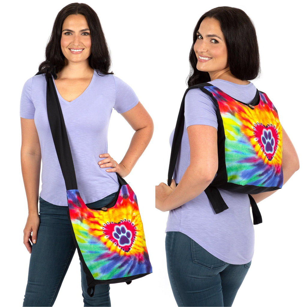 Tie-Dye Paw & Heart Convertible Backpack