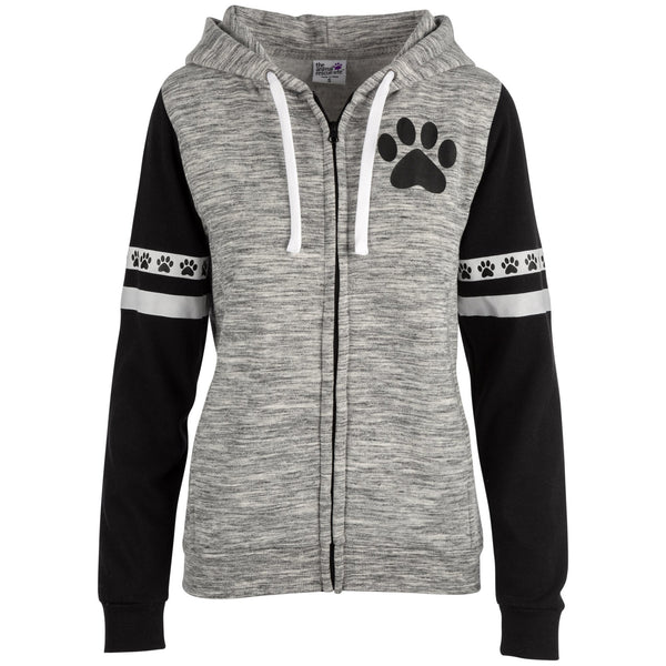 Paws & Stripes Heathered Zip Hoodie