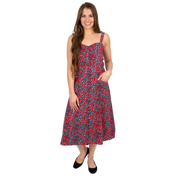 Aloha Red Poppies Midi Dress