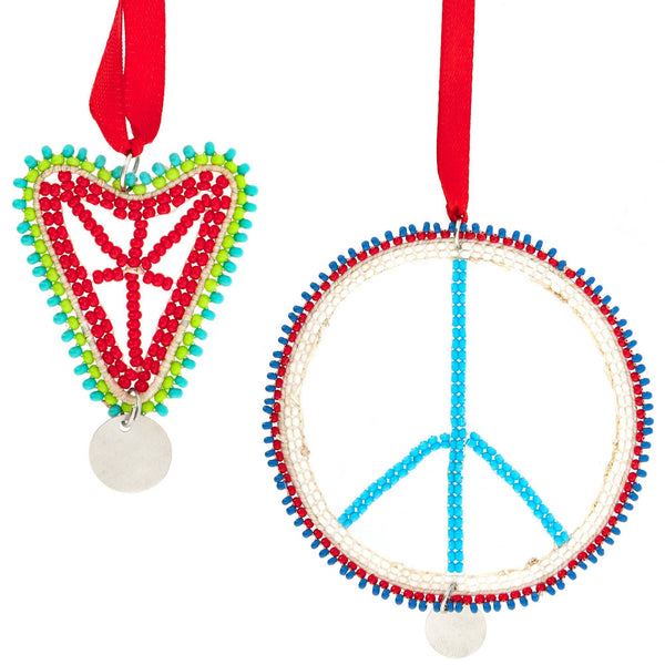 Kenyan Beaded Peace & Love Ornament