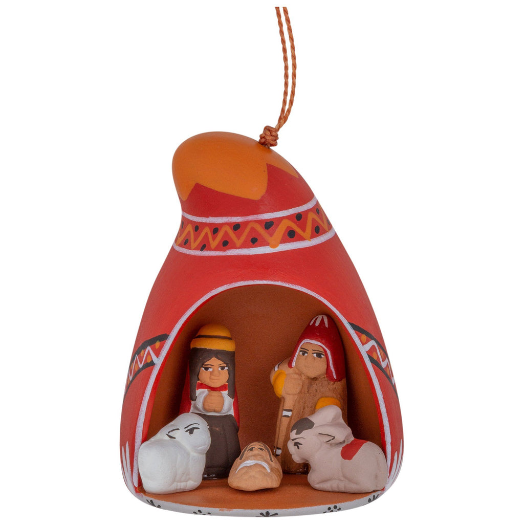 Hand-Painted Ceramic Nativity Ornament