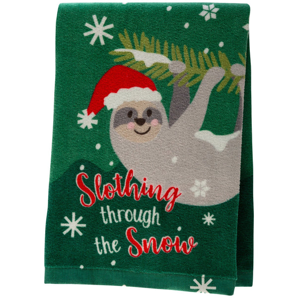 Slothing Through The Snow Kitchen Towel