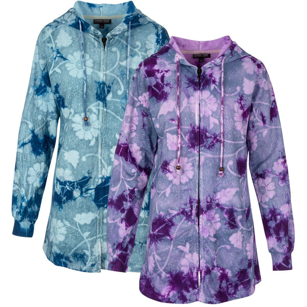 Winding Blooms Hooded Long Jacket