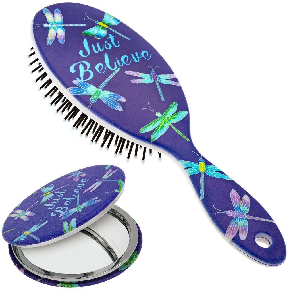 Just Believe Hairbrush & Pocket Mirror Set